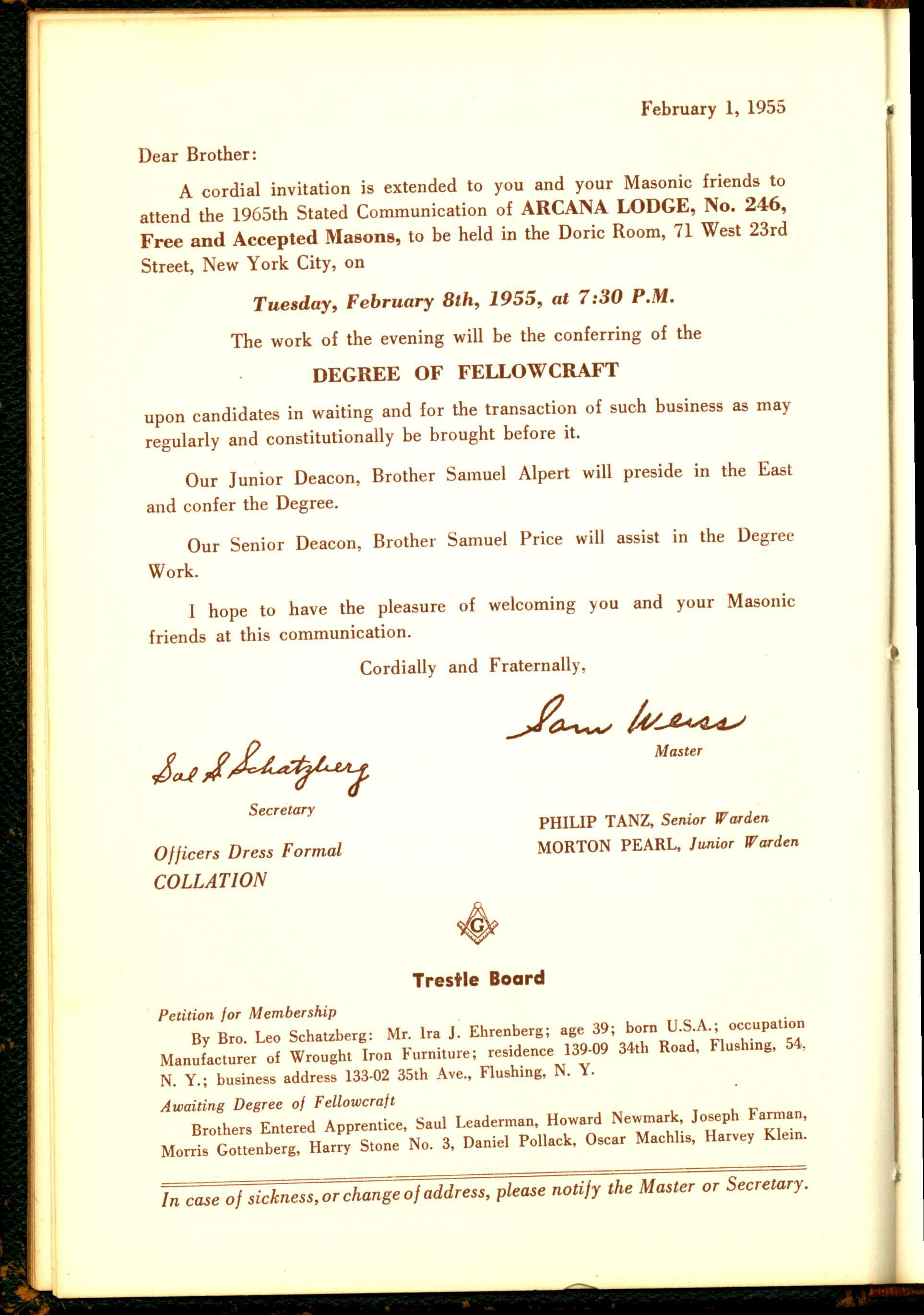 1955 Communications (not in chronological order)   Arcana Lodge No